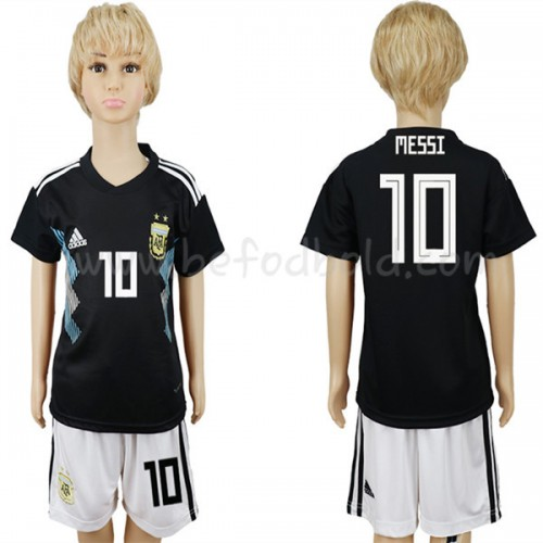 Argentina Kids 2018 World Cup Lionel Messi 10 Short Sleeve Away Soccer Jersey