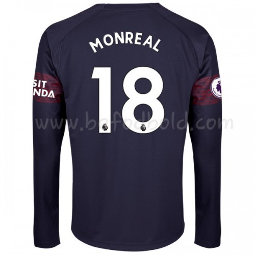 Arsenal 2018-19 Nacho Monreal 18 Long Sleeve Away Soccer Jersey