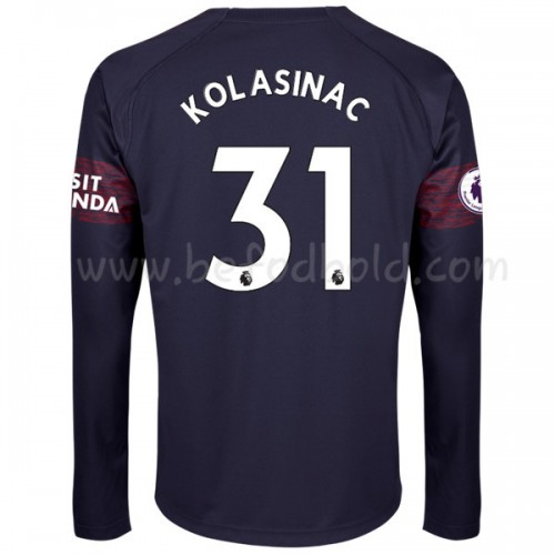 Arsenal 2018-19 Sead Kolasinac 31 Long Sleeve Away Soccer Jersey