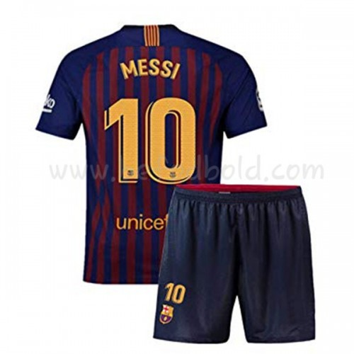 Barcelona Kids 2018-19 Lionel Messi 10 Short Sleeve Home Soccer Jersey
