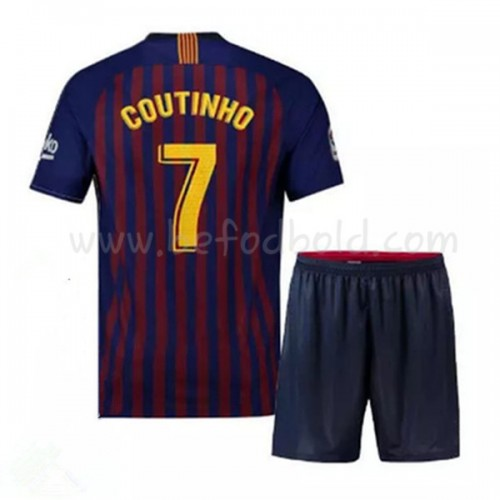 Barcelona Kids 2018-19 Philippe Coutinho 7 Short Sleeve Home Soccer Jersey