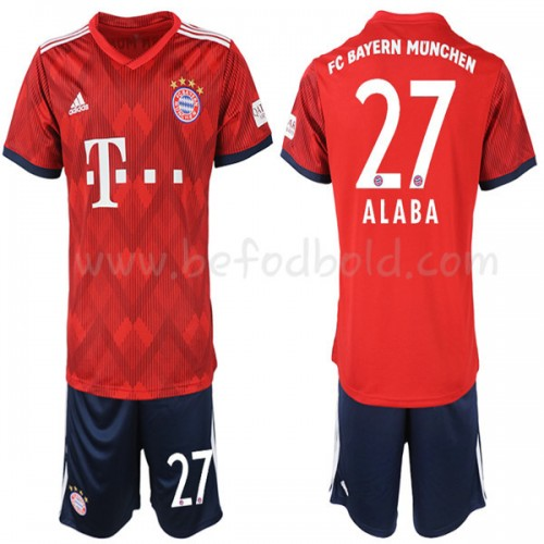 Bayern Munich Kids 2018-19 David Alaba 27 Short Sleeve Home Soccer Jersey