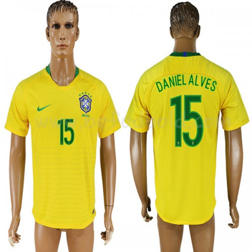 Brazil 2018 Dani Alves 15 Short Sleeve Home Soccer Jersey