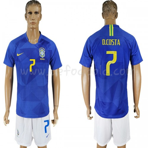 Brazil 2018 Douglas Costa 7 Short Sleeve Away Soccer Jersey