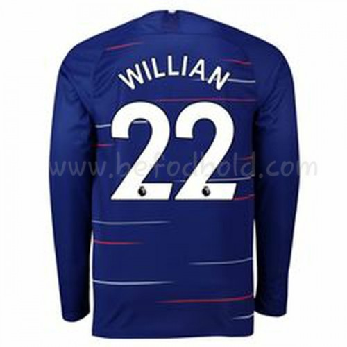 Chelsea 2018-19 Willian Borges da Silva 22 Long Sleeve Home Soccer Jersey