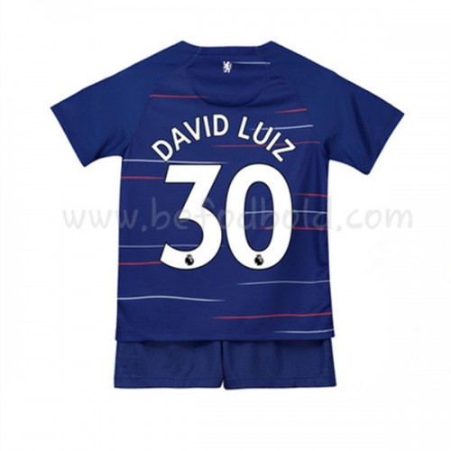 Chelsea Kids 2018-19 David Luiz 30 Short Sleeve Home Soccer Jersey