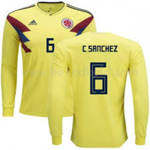 Colombia 2018 Carlos Sanchez 6 Long Sleeve Home Soccer Jersey