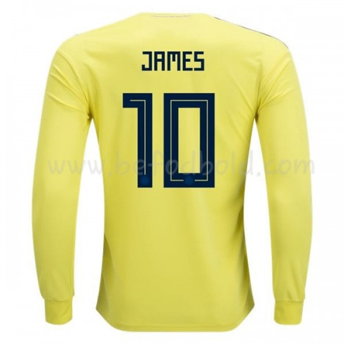 Colombia 2018 James Rodriguez 10 Long Sleeve Home Soccer Jersey