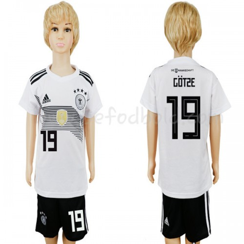 Germany Kids 2018 World Cup Mario Gotze 19 Short Sleeve Home Soccer Jersey