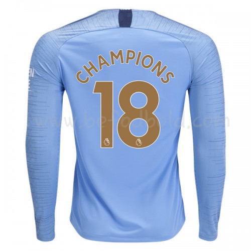 Manchester City 2018-19 Champions 2018 Long Sleeve Home Soccer Jersey