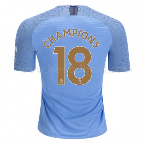 Manchester City 2018-19 Champions 2018 Short Sleeve Home Soccer Jersey