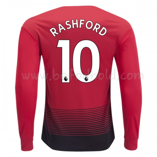 Manchester United 2018-19 Marcus Rashford 10 Long Sleeve Home Soccer Jersey