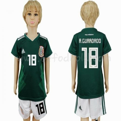 Mexico Kids 2018 World Cup Andres Guardado 18 Short Sleeve Home Soccer Jersey