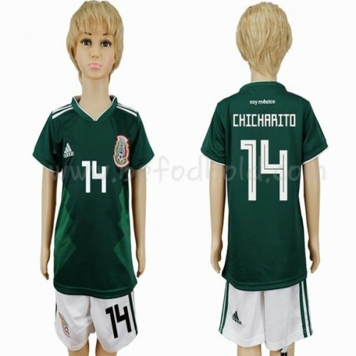 Mexico Kids 2018 World Cup Chicharito 14 Short Sleeve Home Soccer Jersey