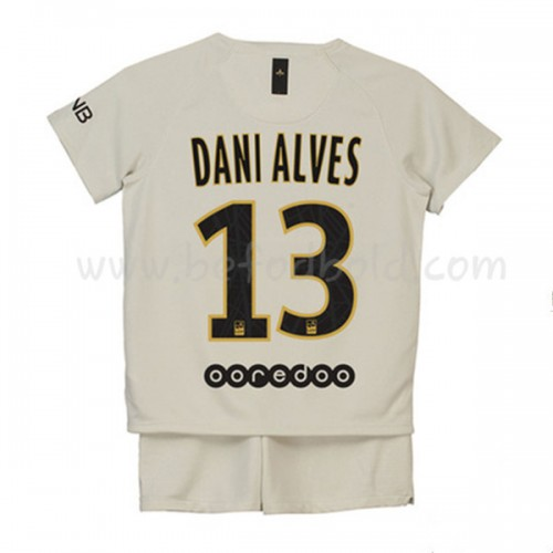 Paris Saint Germain PSG Kids 2018-19 Dani Alves 32 Short Sleeve Away Soccer Jersey