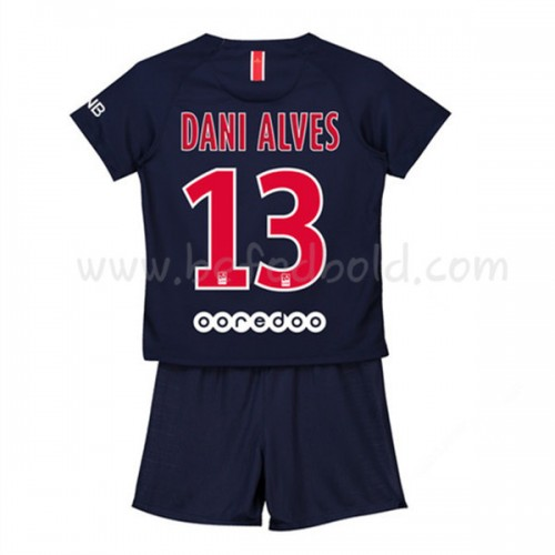Paris Saint Germain PSG Kids 2018-19 Dani Alves 32 Short Sleeve Home Soccer Jersey