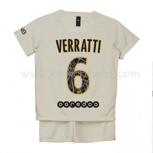 Paris Saint Germain PSG Kids 2018-19 Marco Verratti 6 Short Sleeve Away Soccer Jersey