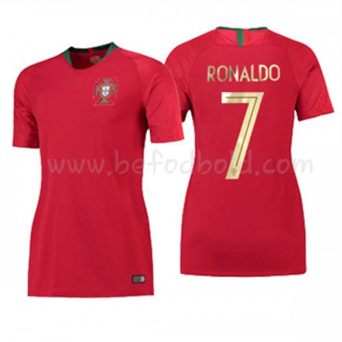 Portugal Womens 2018 World Cup Cristiano Ronaldo 7 Short Sleeve Home Soccer Jersey