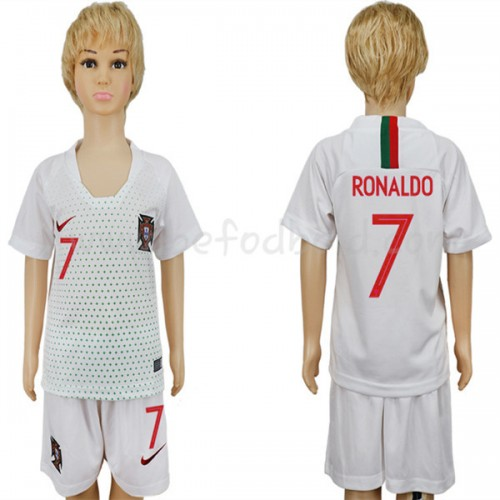 Portugal Kids 2018 World Cup Cristiano Ronaldo 7 Short Sleeve Away Soccer Jersey
