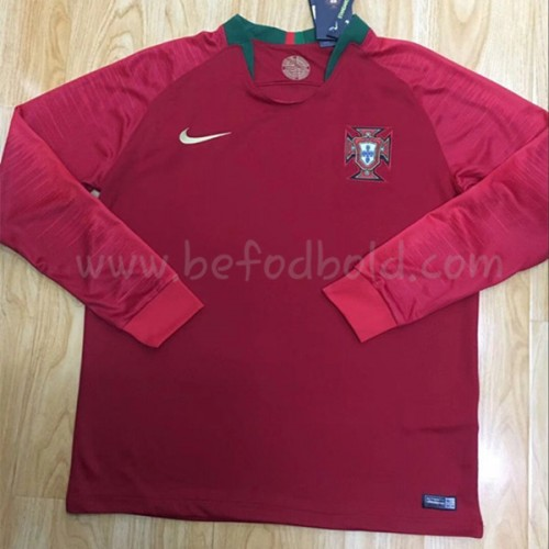 Portugal Kids 2018 World Cup Long Sleeve Home Soccer Jersey