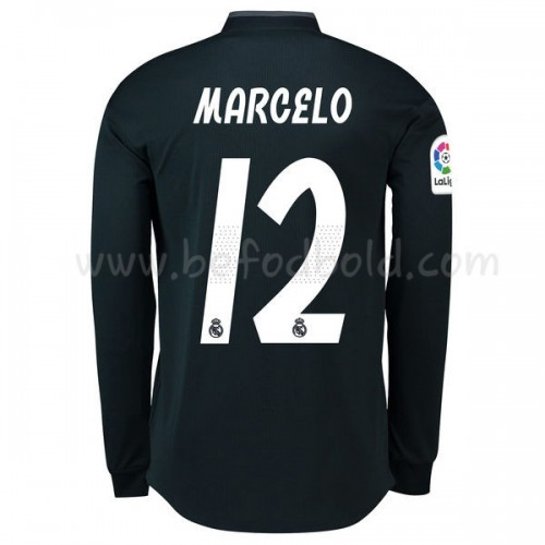 Real Madrid 2018-19 Marcelo Junior 12 Long Sleeve Away Soccer Jersey