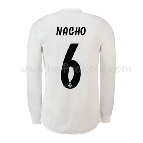 Real Madrid 2018-19 Nacho Fernandez 6 Long Sleeve Home Soccer Jersey
