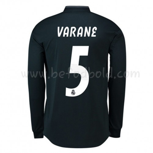 Real Madrid 2018-19 Raphael Varane 5 Long Sleeve Away Soccer Jersey