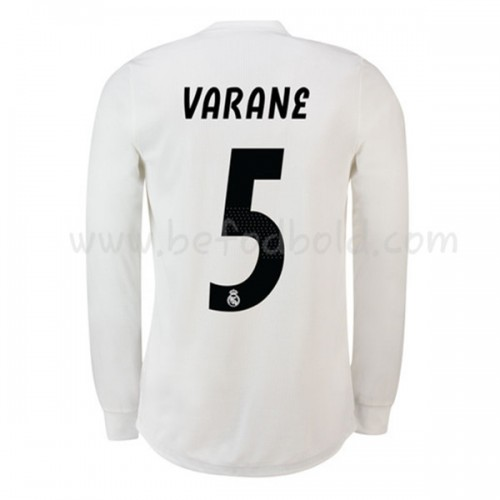 Real Madrid 2018-19 Raphael Varane 5 Long Sleeve Home Soccer Jersey