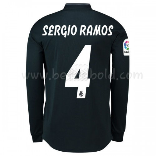 Real Madrid 2018-19 Sergio Ramos 4 Long Sleeve Away Soccer Jersey