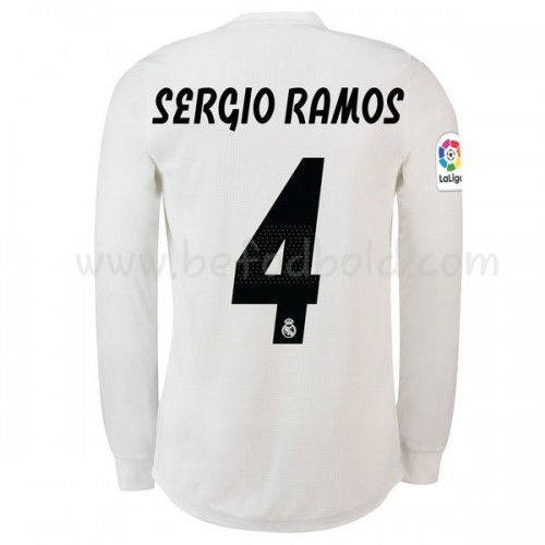 Real Madrid 2018-19 Sergio Ramos 4 Long Sleeve Home Soccer Jersey