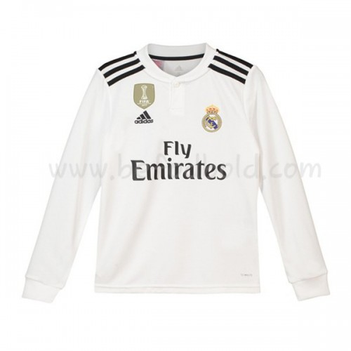 Real Madrid Kids 2018-19 Long Sleeve Home Soccer Jersey