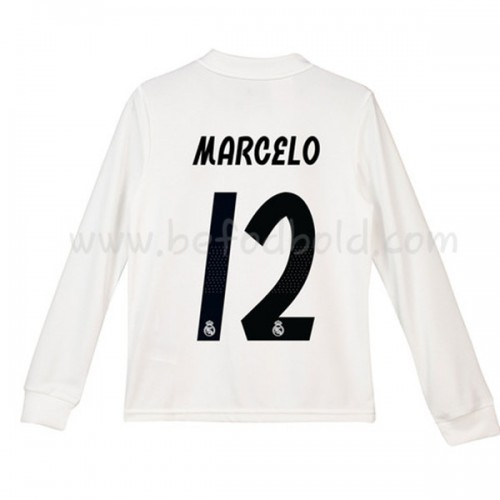 Real Madrid Kids 2018-19 Marcelo Junior 12 Long Sleeve Home Soccer Jersey