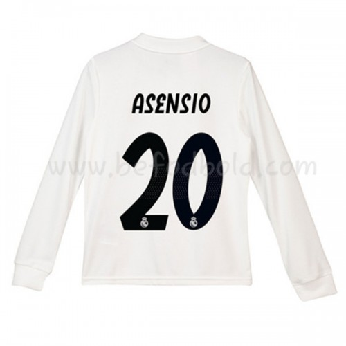 Real Madrid Kids 2018-19 Marco Asensio 20 Long Sleeve Home Soccer Jersey