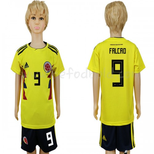 Colombia Kids 2018 World Cup Radamel Falcao 9 Short Sleeve Home Soccer Jersey