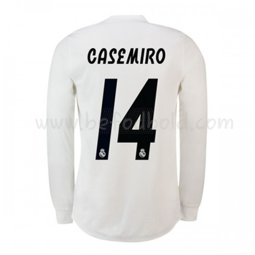 Real Madrid 2018-19 Carlos Casemiro 14 Long Sleeve Home Soccer Jersey